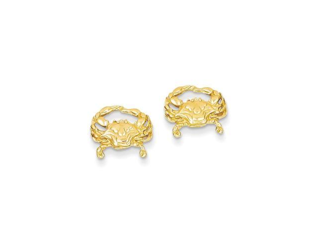 14k Yellow Gold Crab Post Earrings (10MM Long x 12MM Wide)
