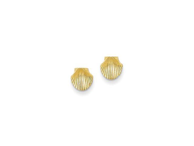 14k Yellow Gold Mini Scallop Shell Post Earrings (7MM)