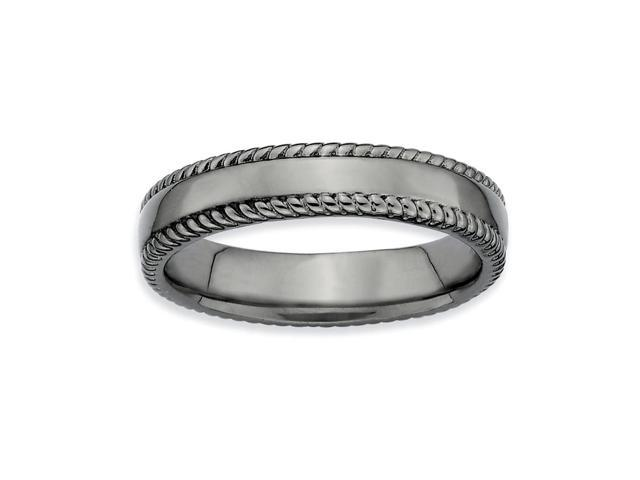 Gorgeously Stylish Silver Stackable Black Ring