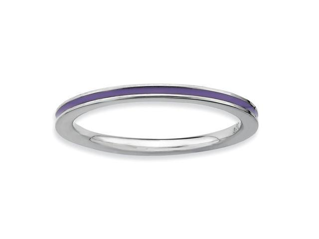 Royal Beauty 925 Sterling Silver Rhodium Plated Stackable Purple Enamel Ring
