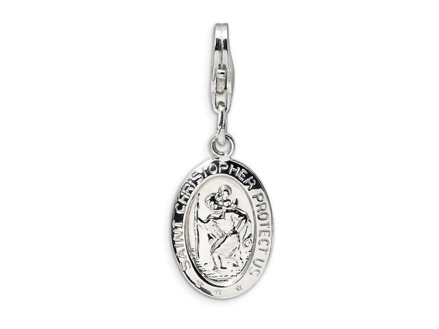 Sterling Silver Rhodium Plated Saint Christopher Medal with Lobster Clasp Charm (0.5IN long x 0.4IN wide)