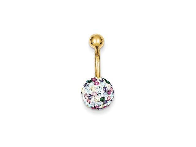 10k Yellow Gold w/ Multi-Color Crystal Ball Belly Dangle