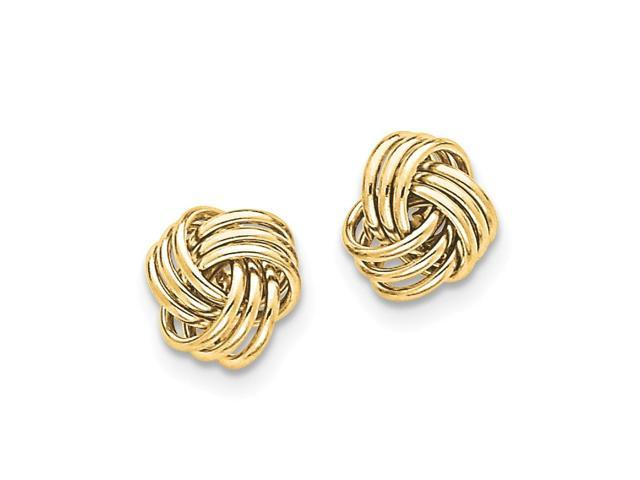 14k Yellow Gold Polished Love Knot Post Earrings (0.4IN x 0.4IN )
