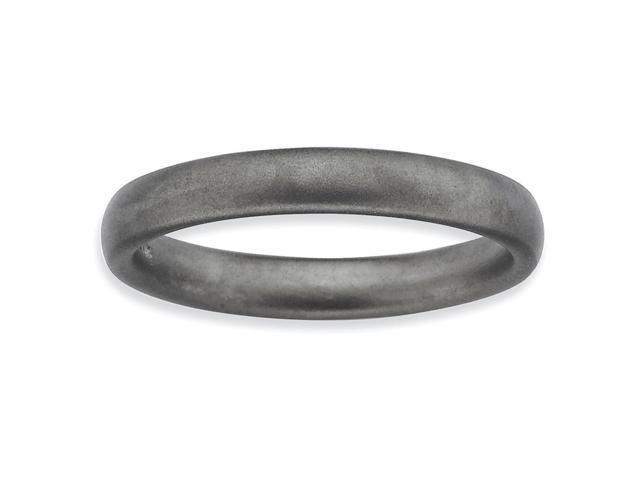 Versatile Silver Stackable Black Satin Ring