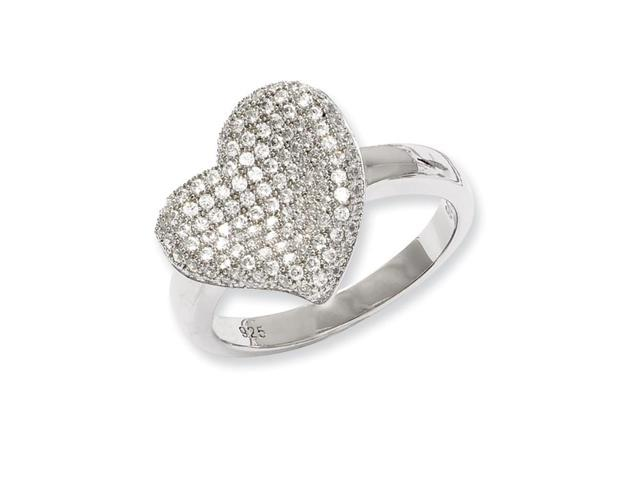 Sterling Silver & Synthetic CZ Embers Fancy Polished Heart Ring