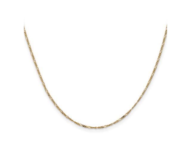14k Yellow Gold 16in 1.25mm Flat Figaro Necklace Chain