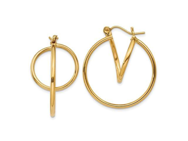 14k Yellow Gold Fashion Circle Hoop Earrings (0.9IN x 0.7IN )