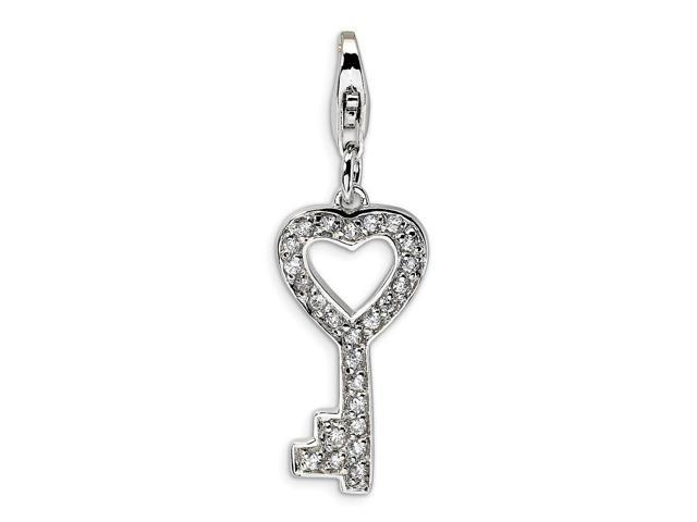 Sterling Silver Rhodium Plated Synthetic CZ Key with Lobster Clasp Charm (0.8IN long x 0.4IN wide)