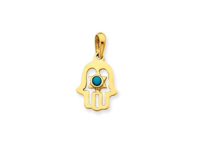 14k Yellow Gold Synthetic Turquoise Chamseh Pendant
