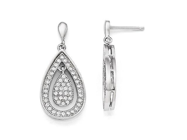 Sterling Silver Rhodium Plated & Synthetic CZ Brilliant Embers Teardrop Dangle Post Earrings (1IN x 0.5IN )