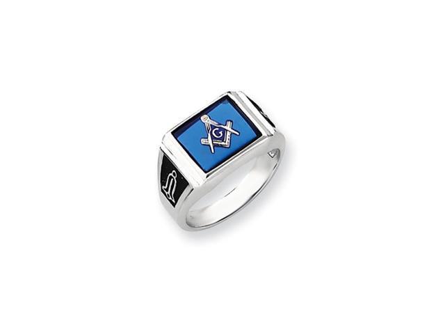 14k White Gold Simulated Blue Spinel Men's Masonic Ring