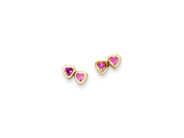 14k Yellow Gold Childs Pink Synthetic CZ Hearts Post Earrings w/ Gift Box (5MM)