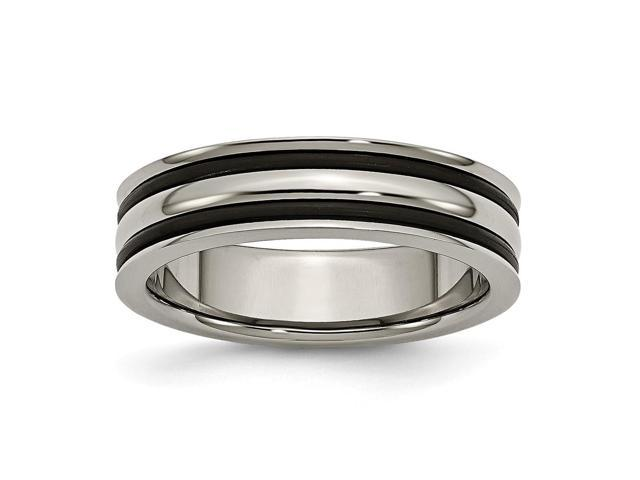 Titanium 6mm Grooved Black Rubber Polished Engravable Band