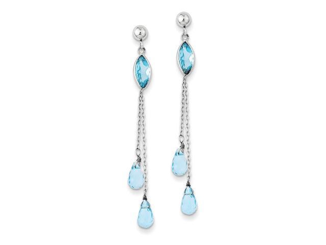 14k White Gold 1.9IN Long Blue Topaz Dangle Post Earrings