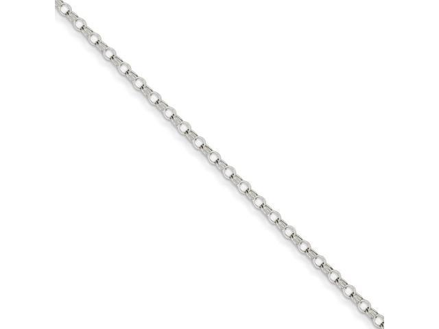 14k White Gold 7in 3mm Solid Double Link Charm Bracelet