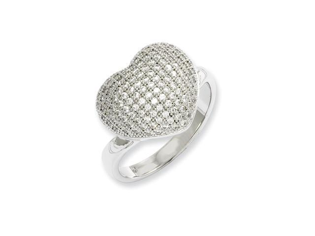 Sterling Silver & Synthetic CZ Embers Polished Heart Ring
