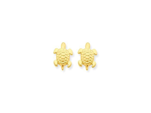 14k Yellow Gold Childs Turtle Post Earrings w/ Gift Box (0.4IN x 0.3IN )