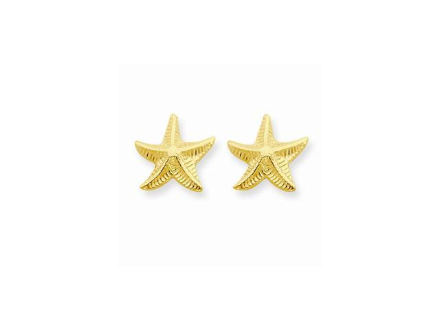 14k Yellow Gold Childs Starfish Post Earrings w/ Gift Box (0.4IN x 0.4IN )
