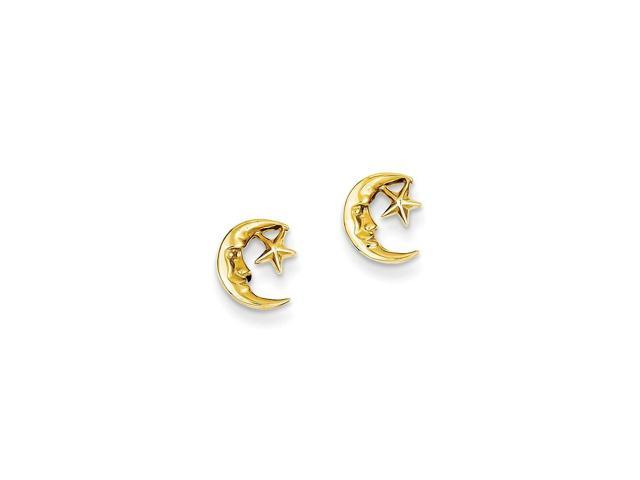 14k Yellow Gold Moon and Star Post Earrings (8MM)