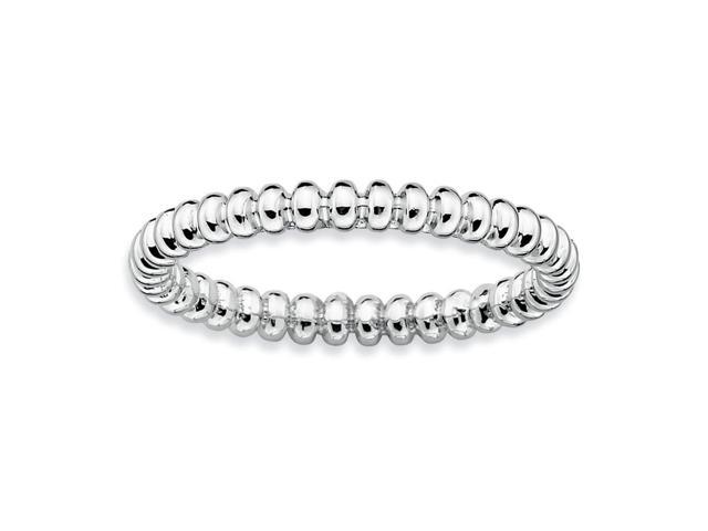 Sophisticated 925 Sterling Silver Stackable Rhodium Plated Beaded Ring