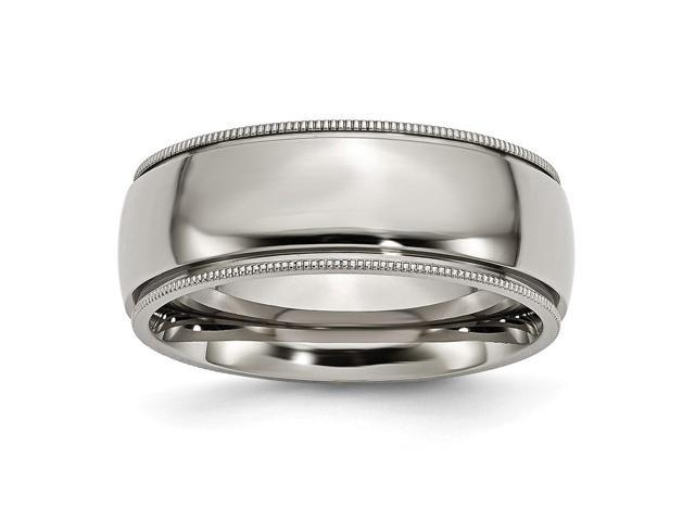 Titanium Grooved and Beaded 8mm Polished Engravable Band