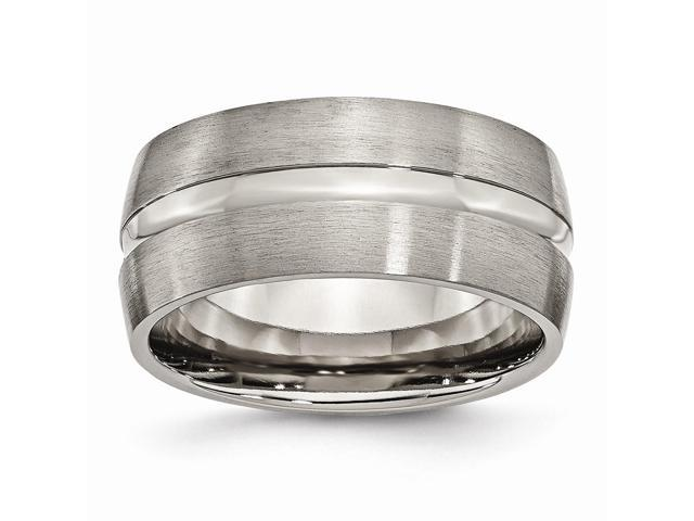 Titanium Grooved 0.3IN Brushed and Polished Engravable Band (38.9IN x 0.3IN)