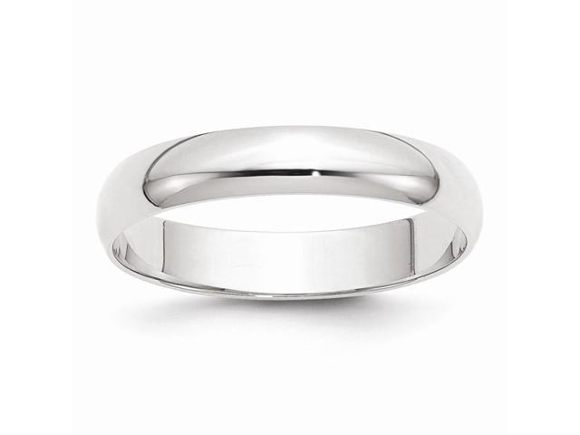 14k White Gold Engravable Polished 4mm Half-Round Featherweight Band