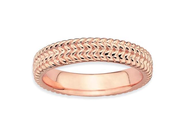 Beauty and Wisdom Sterling SIlver Stackable 18k Rose Gold-Plated Ring