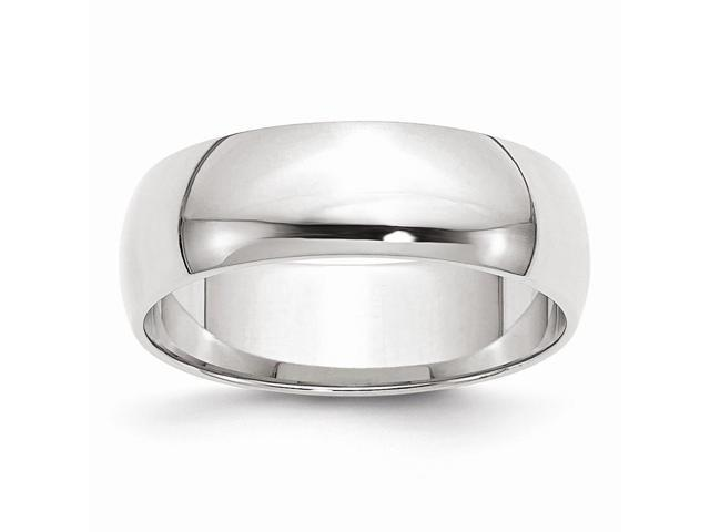 14k White Gold Engravable Polished 6mm Half-Round Featherweight Band