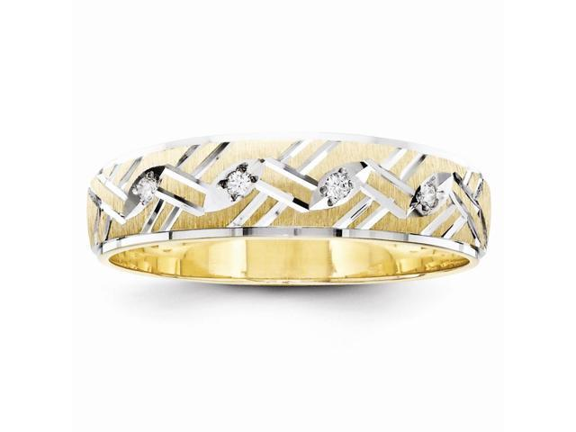 14k Yellow Gold Fine Trio Mens Wedding Band (Color H-I, Clarity SI2-I1)
