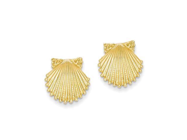 14k Yellow Gold Shell Post Earrings (0.5IN x 0.5IN )
