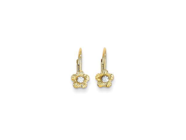 14k Yellow Gold 0.5IN Long Childs Flower w/ Synthetic CZ Leverback Earrings