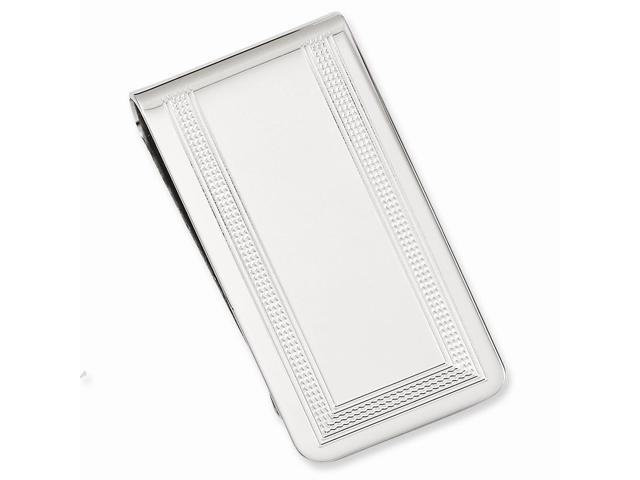 Rhodium Plated Stainless Steel Polished with Engraveable Area Money Clip