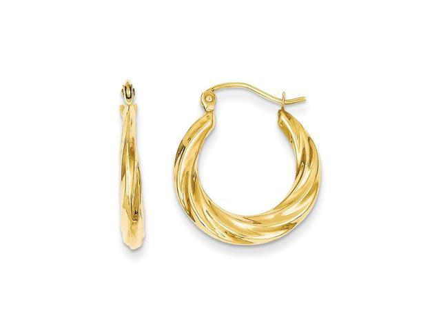14k Yellow Gold Polished Twisted Hollow Hoop Earrings. 20mm Diameter.