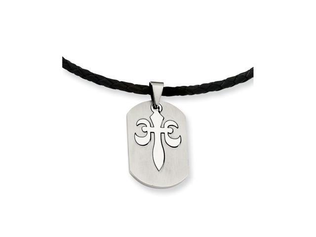 Stainless Steel Fleur De Lis Pendant Necklace (18in long)