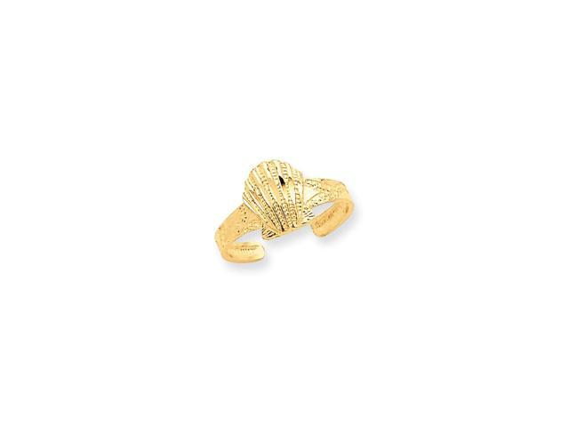 14k Yellow Gold D/C Scallop Shell Toe Ring