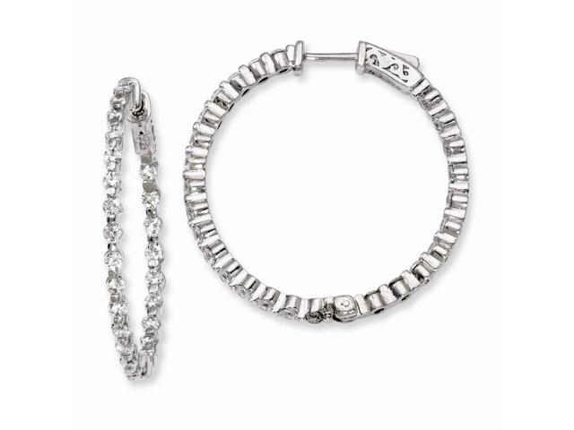 Sterling Silver Rhodium Plated with Synthetic CZ 1.3IN Hinged Hoop Earrings (1.3IN x 1.3IN )