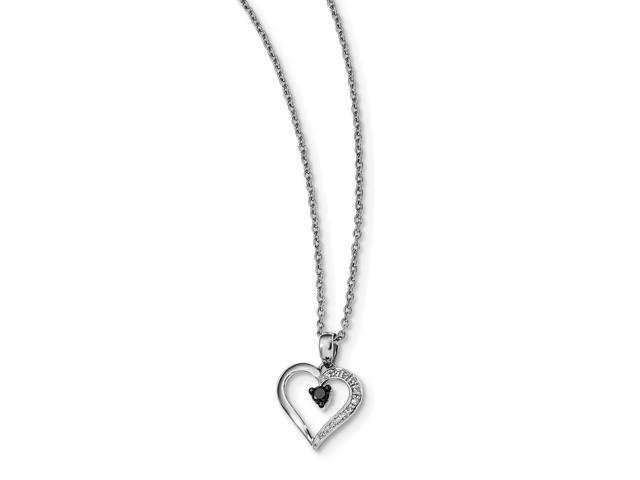Sterling Silver Rhodium Plated Black and White Diamond Heart Pendant. Total Carat Wt- 0.12ct.