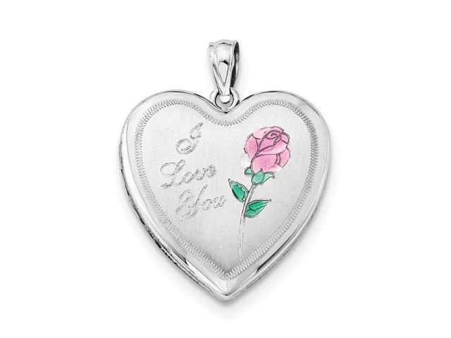 Sterling Silver 24mm Enameled Rose Heart Locket