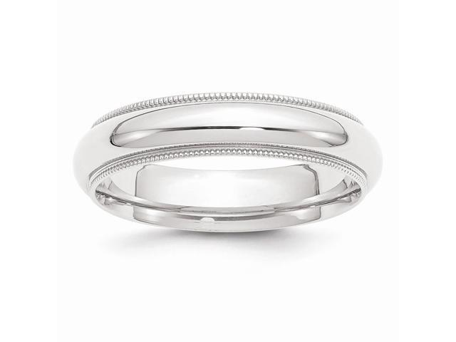 950 Platinum 5mm Comfort-Fit Milgrain Wedding Engravable Band