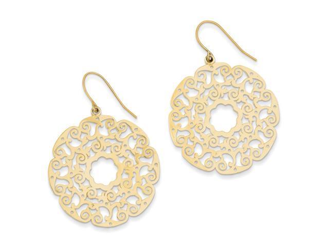 14k Yellow Gold Shepherds Hook Fancy Lace Filigree Dangle Earrings (1.8IN x 1.3IN )