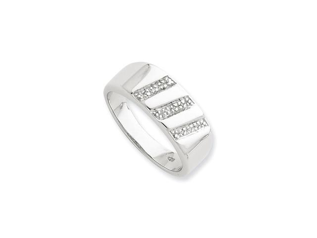 Sterling Silver Diamond Gent's Ring (Color H-I, Clarity SI2-I1)