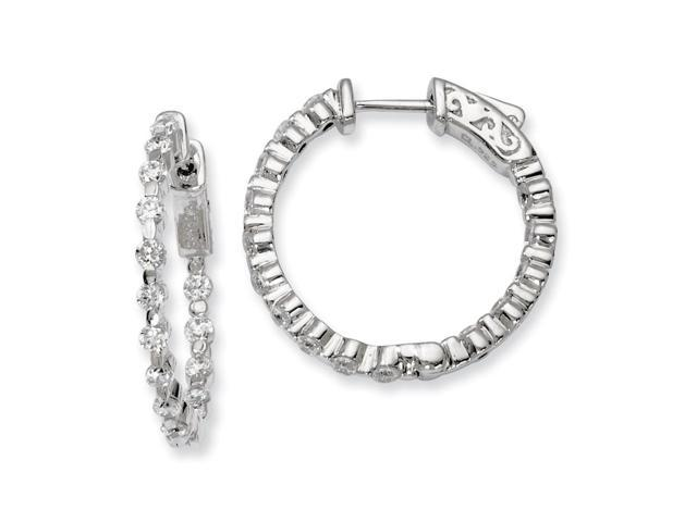 Sterling Silver Rhodium Plated with Synthetic CZ 0.9IN Hinged Hoop Earrings (0.9IN x 0.9IN )