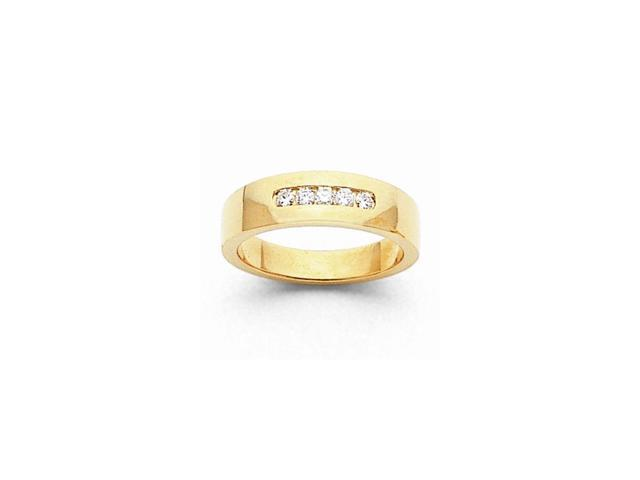 14k Yellow Gold Fine Diamond Men's Channel Band (Color H-I, Clarity SI2-I1)