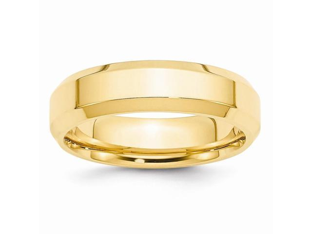14k Yellow Gold 6mm bevel edge wedding Band