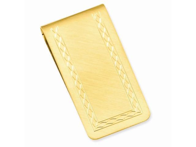 Stainless Steel with Engraveable Area Florentined Money Clip