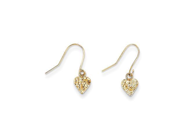 14k Yellow Gold 0.6IN Long Childs Heart Dangle Earrings