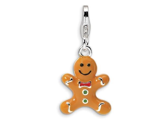 Sterling Silver Rhodium Plated 3-D Enameled Gingerbread Cookie with Lobster Clasp Charm (0.5in)