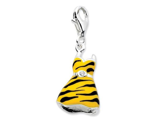 Sterling Silver Rhodium Plated Click-on Synthetic CZ Enamel Tiger Dress Charm (0.7IN long x 0.5IN wide)