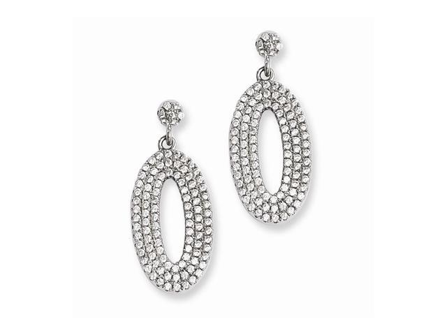 Sterling Silver & Synthetic CZ Embers Oval Dangle Post Earrings